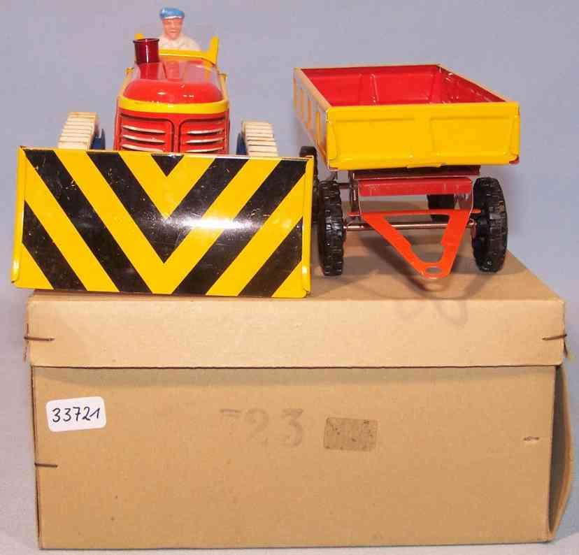gescha 723 tin toy caterpillar with trailer