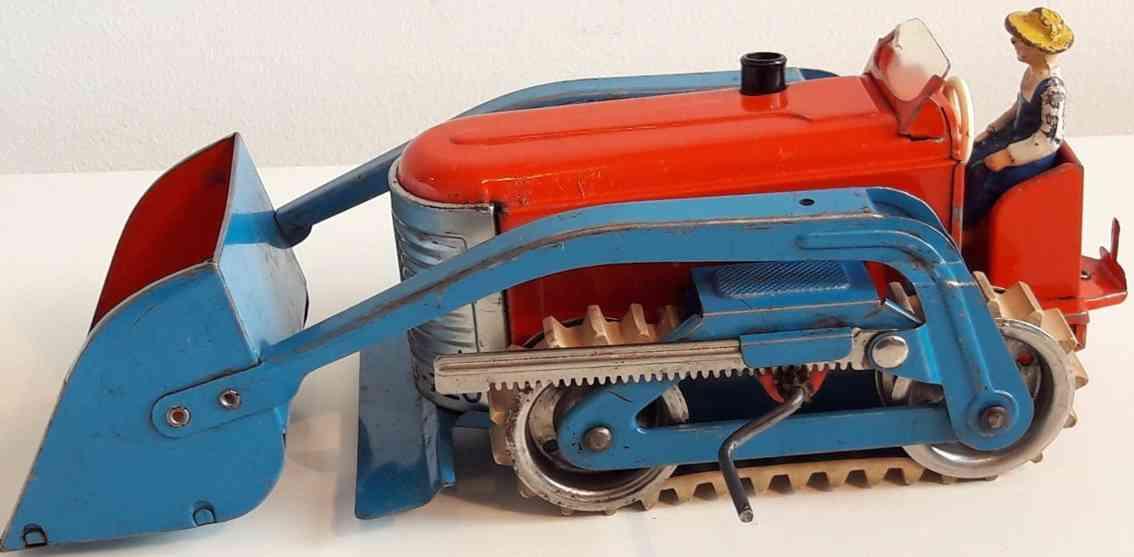 gescha b-720 blech spielzeug raupe mit fahrer rot blau