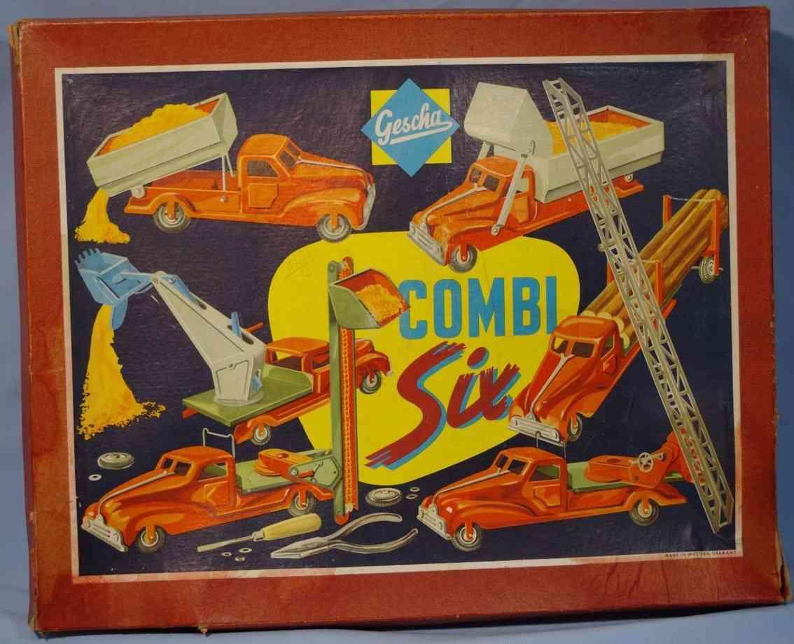 gescha blech spielzeug combi six baukasten sechs verschiedene autos