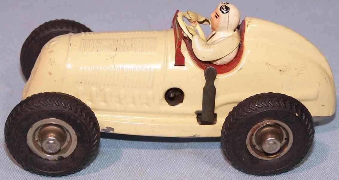 gescha blech spielzeug mercedes rennwagen kompressor uhrwerk beige