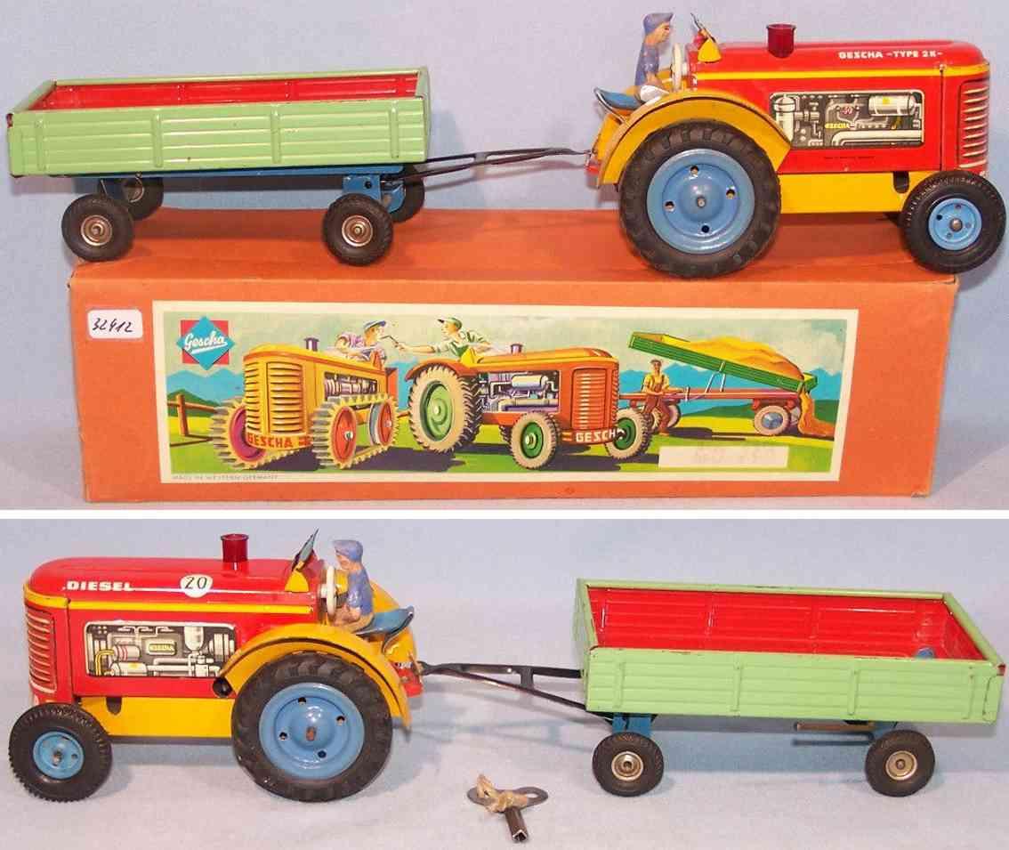 gescha blech spielzeug traktor mit anhaenger