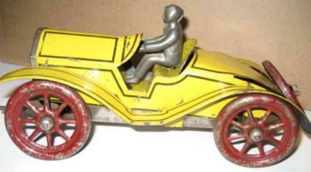 gilbert blech spielzeug rennauto stutz rennwagen gelb