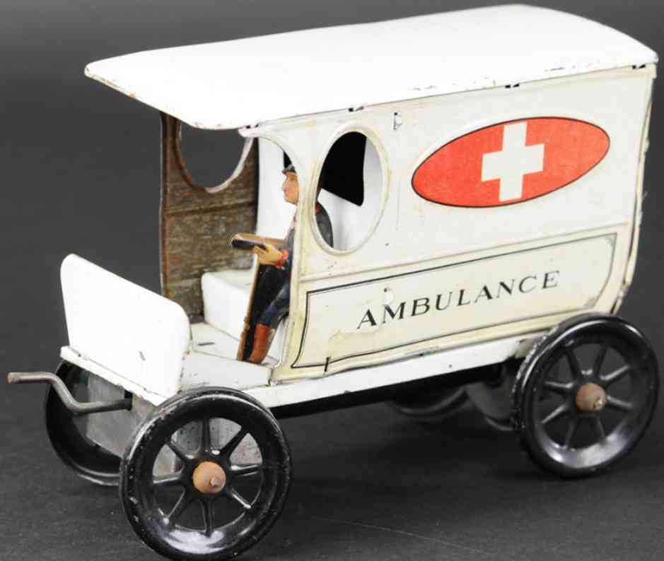gilbert tin toy ambulance car driver clockwork