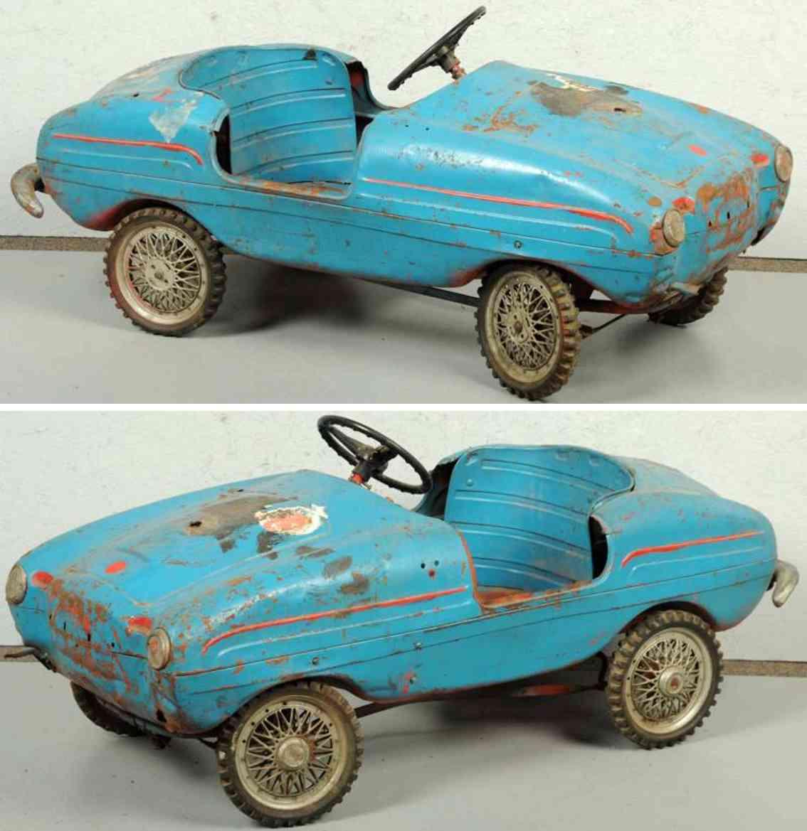 giordani stahlblech spielzeug tretauto italienischer sportwagen blau