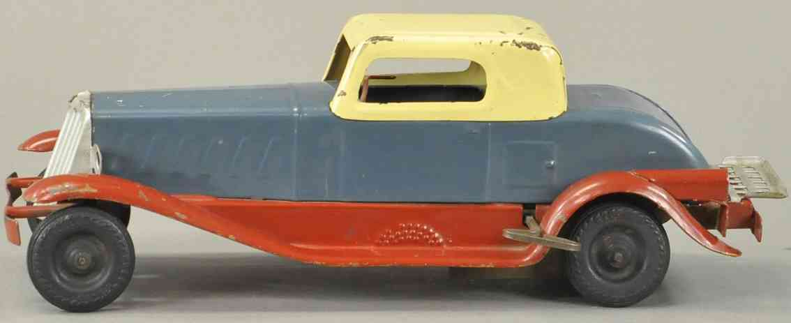 girard tin toy car coupe in red gray yellow clockwork