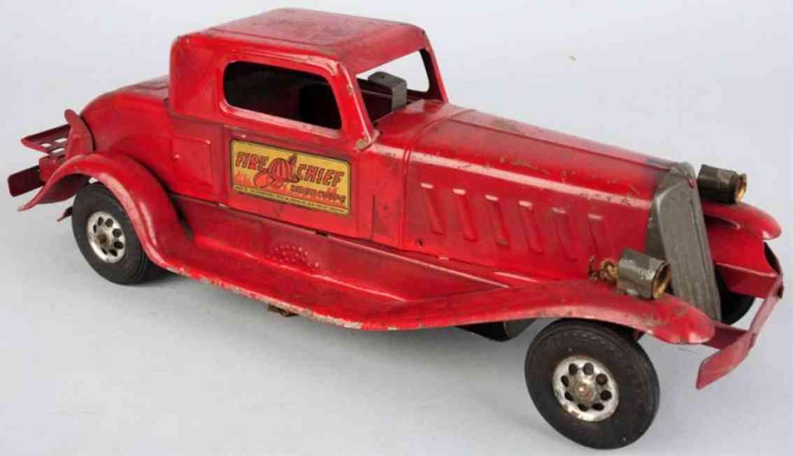 girard tin toy pressed steel fire chief siren car