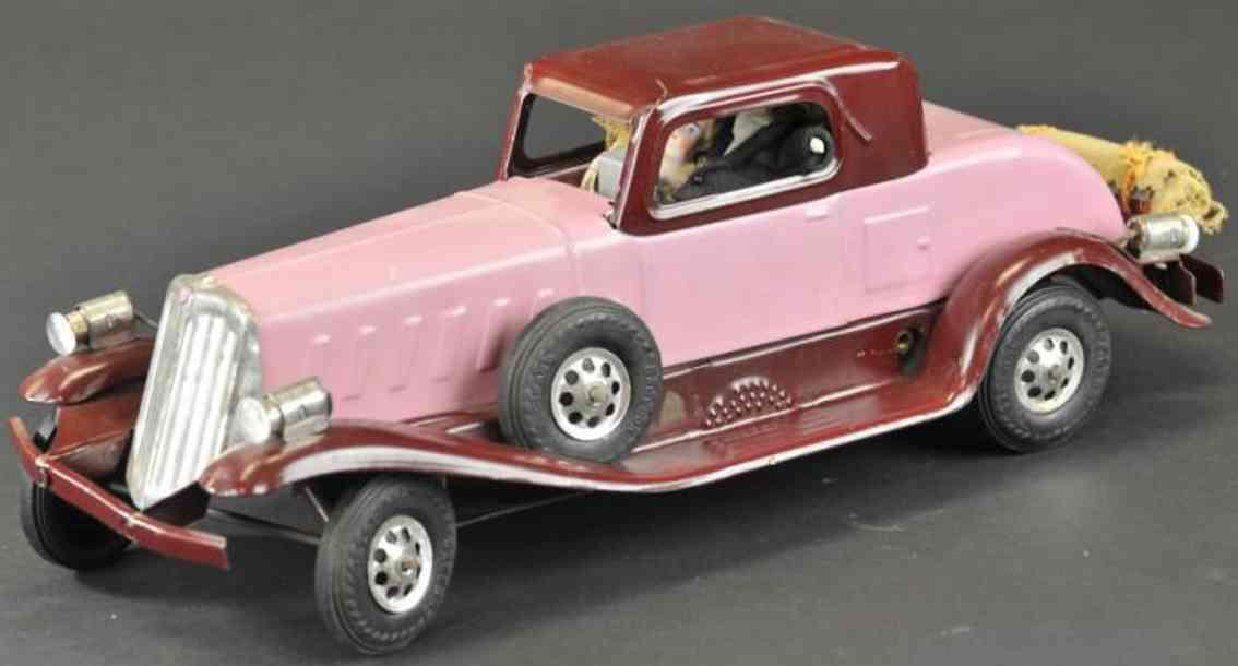girard pressed steel toy car arrow coupe purple burgundy clockwork