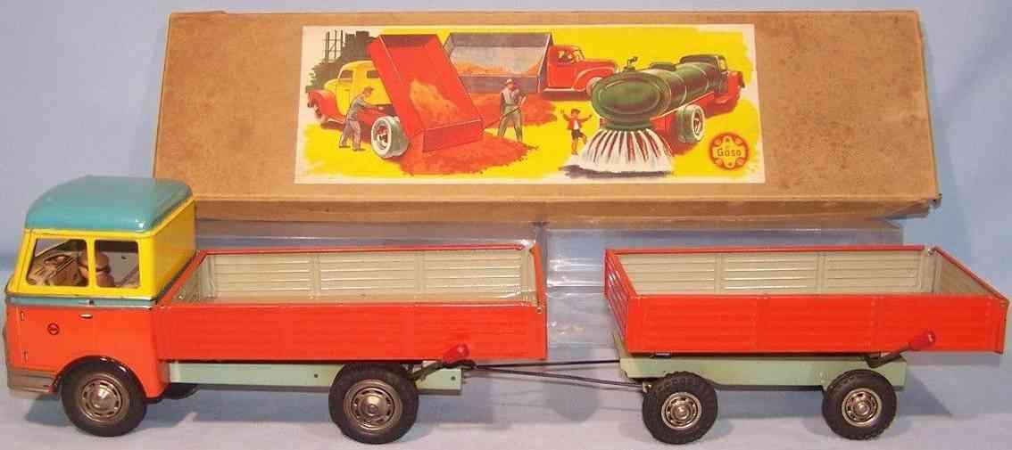 goeso 26/66 blech spielzeug lastwagen mit anhaenger schwungradantrieb