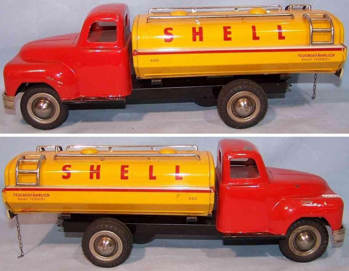 goeso 450 blech spielzeug esso tankwagen schwungradantrieb rot