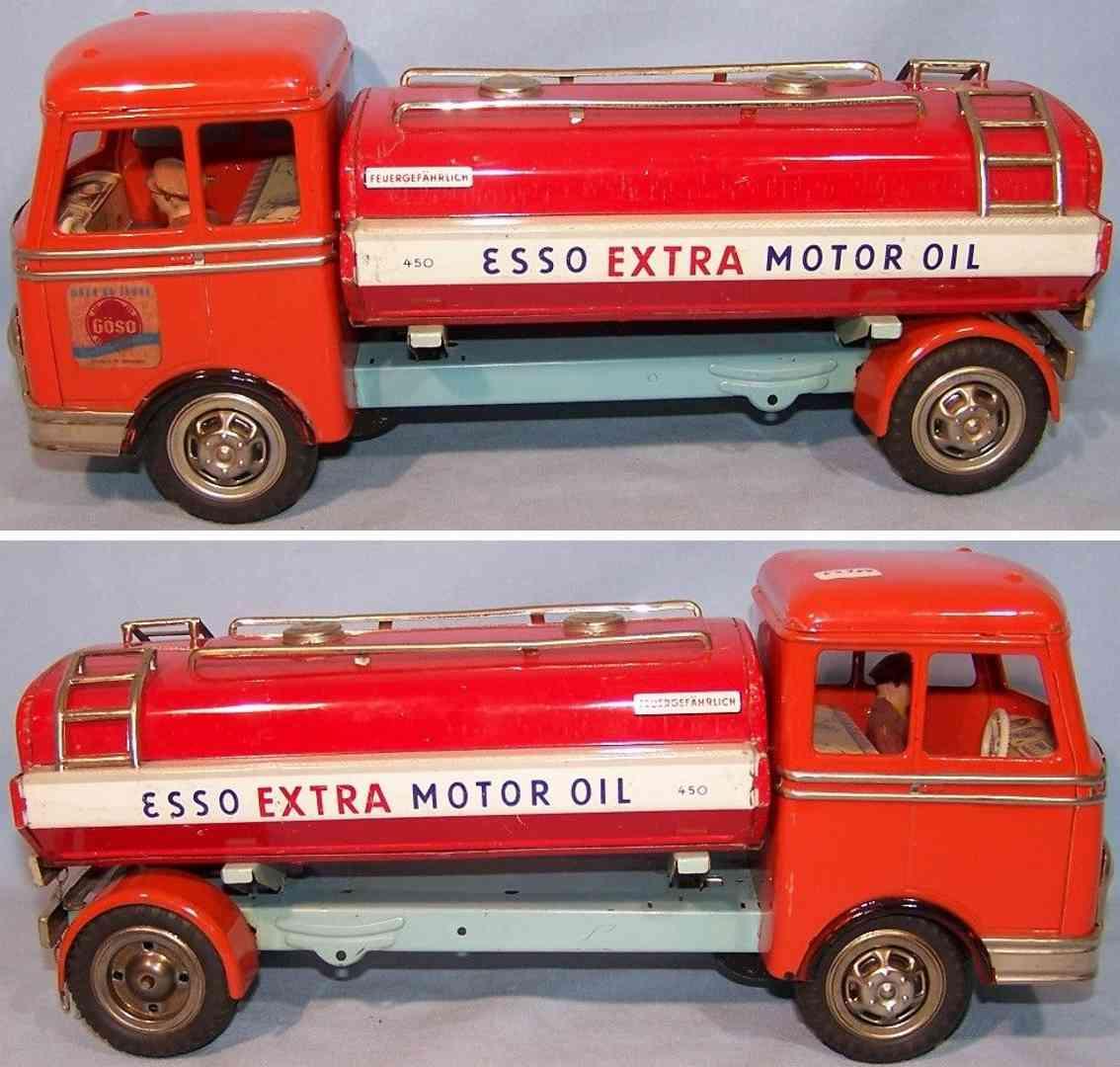 goeso 450 blech spielzeug esso tanklastwagen orange rot fahrer