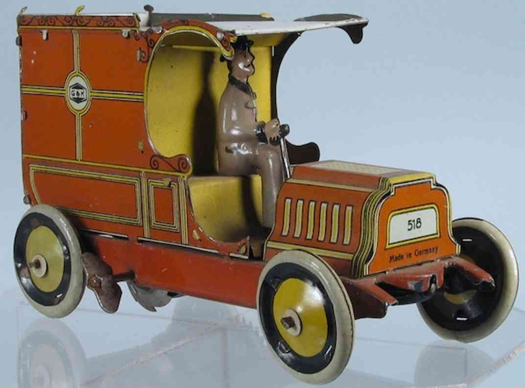 greppert & kelch 518 tin toy truck delivery van with driver and windup mechanism, lithographed