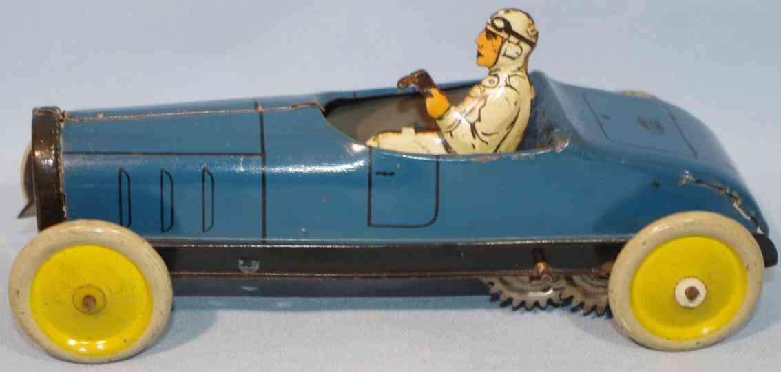 greppert & kelch 548 blech spielzeug rennauto kleiner rennwagen blau