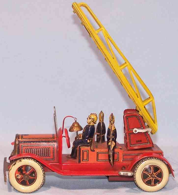 greppert & kelch 569 tin toy fire engine ladder car crew