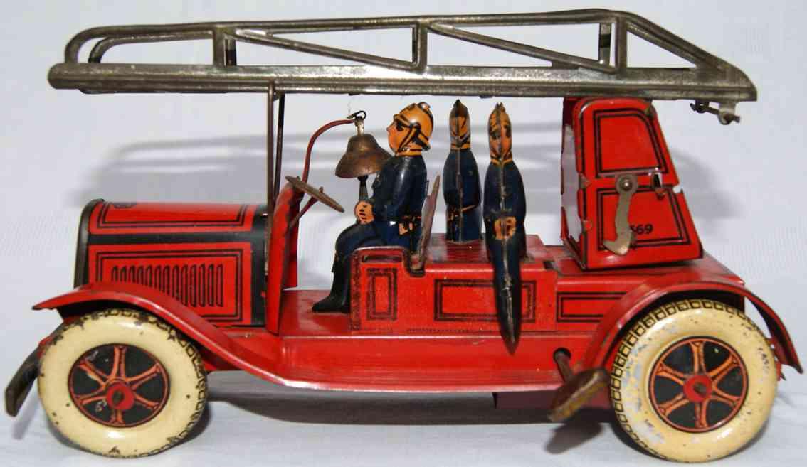 greppert & kelch 569 tin toy fire engine ladder car red three-man crew