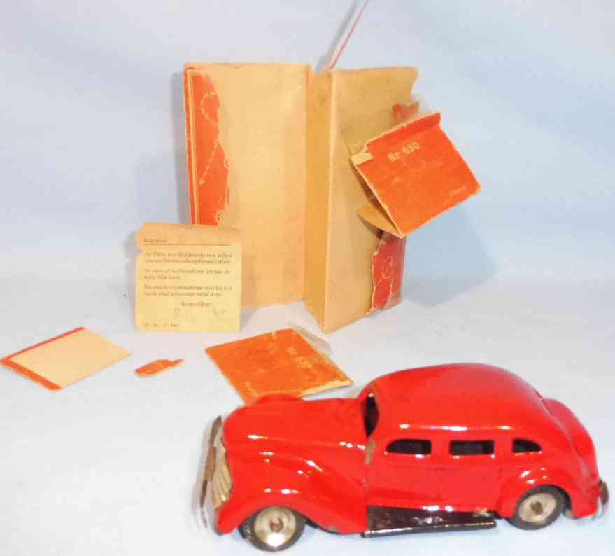 greppert & kelch blech spielzeug auto limousine rot uhrwerk
