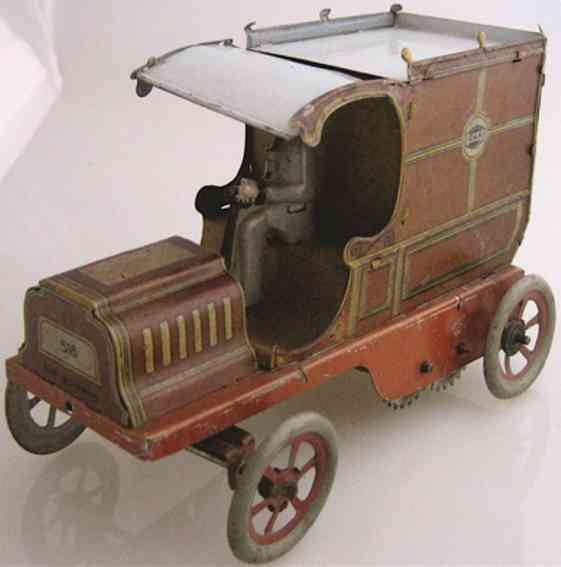 greppert & kelch tin toy car van with clockwork