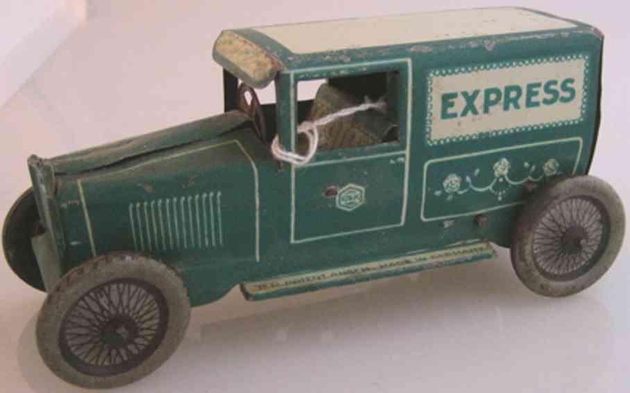 greppert & kelch tin toy truck van with clockwork