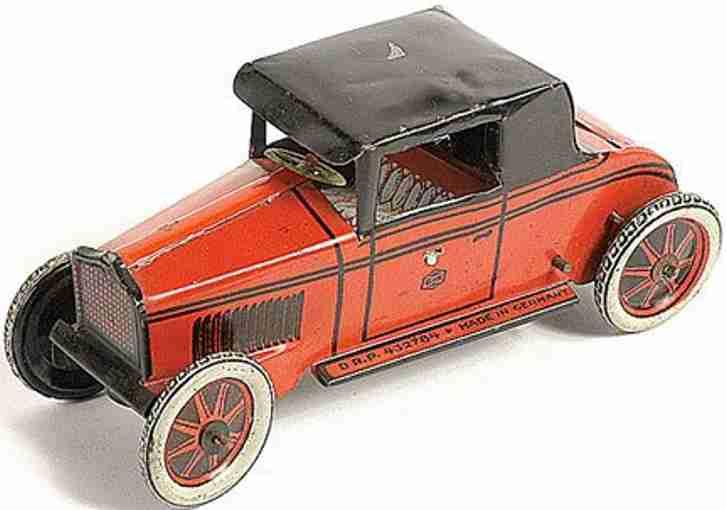 greppert & kelch blech spielzeug auto rot uhrwerk