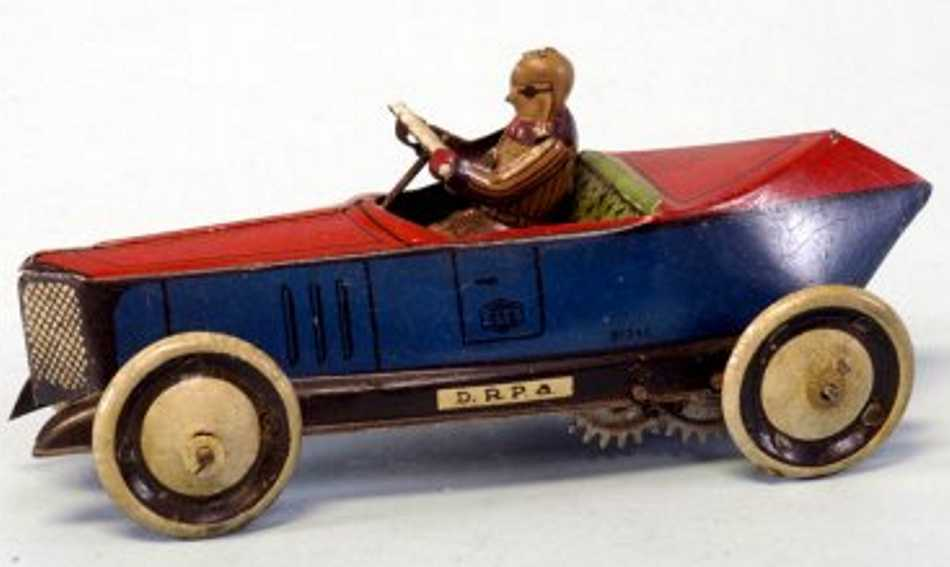 greppert & kelch tin toy race car racer clockwork blue