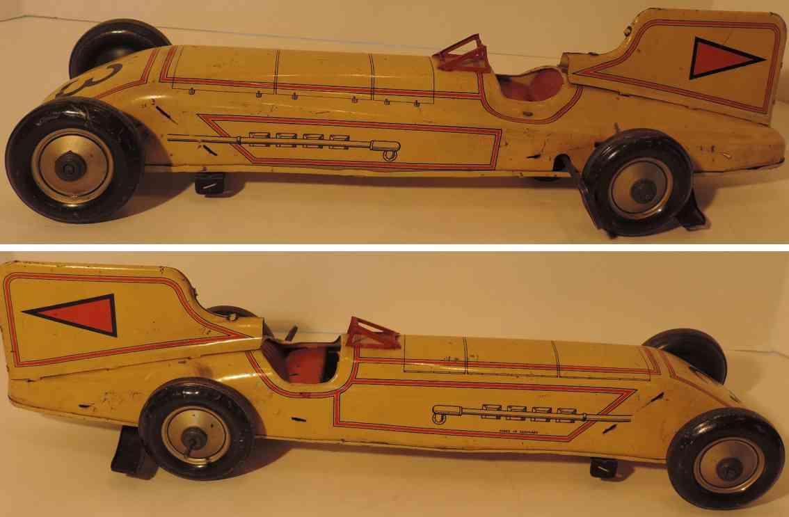 guenthermann 3 blech spielzeug auto  rennwagen uhrwerk gelb rot