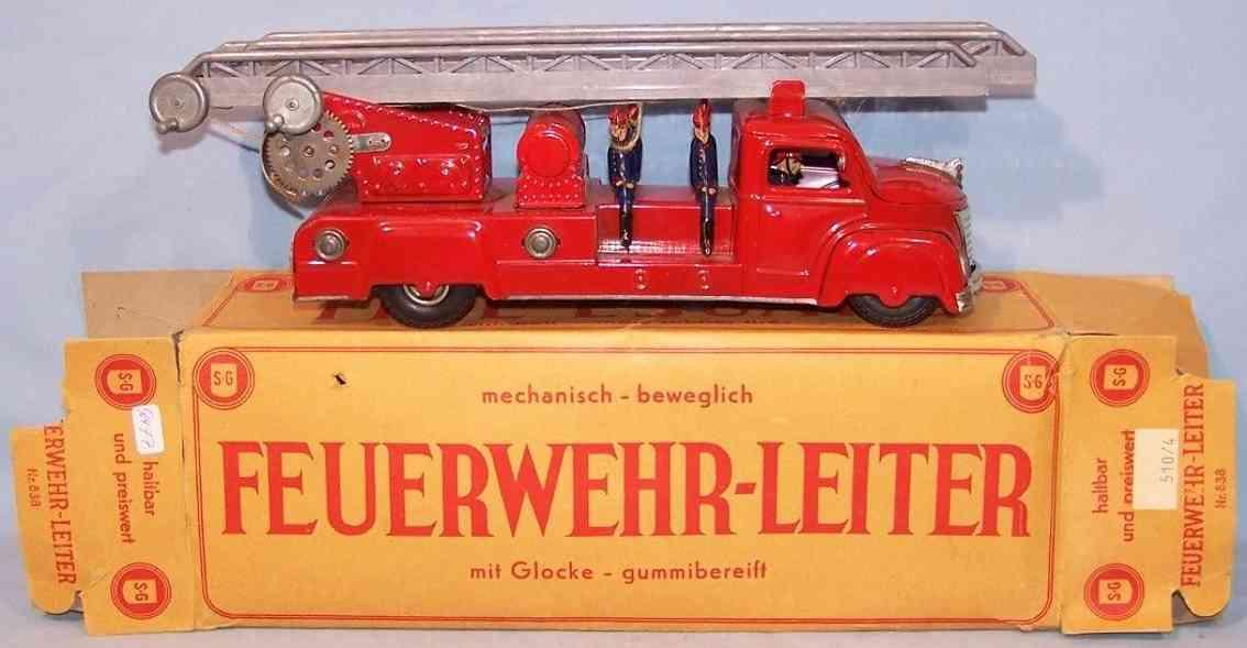 guenthermann 838 blech spielzeug feuerwehrleiterwagen uhrwerk laeutewerk