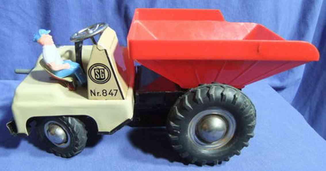 gunthermann 847 tin toy truck tipping loader clockwork