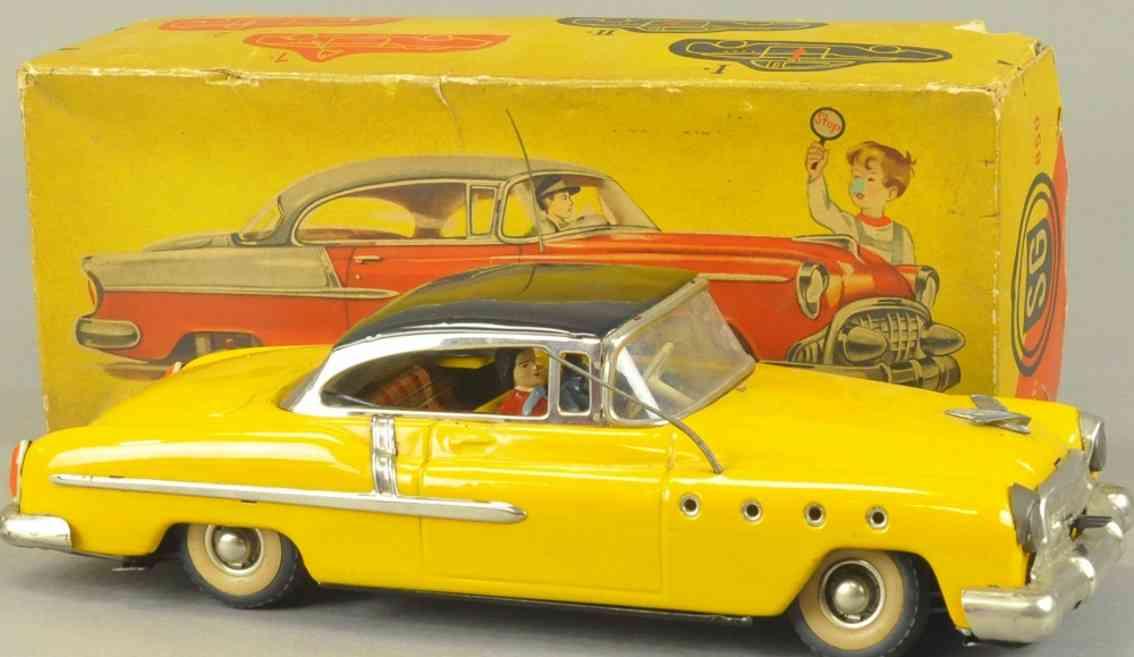 guenthermann 850 blech spielzeug auto gelb uhrwerk fahrer passagier