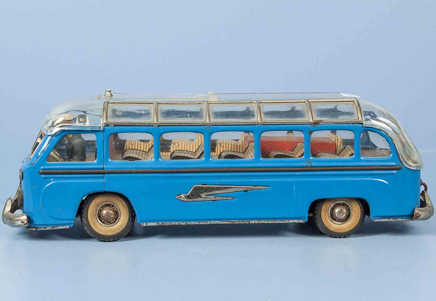 guenthermann 858 blech spielzeug autobus setra reisebus uhrwerk blau
