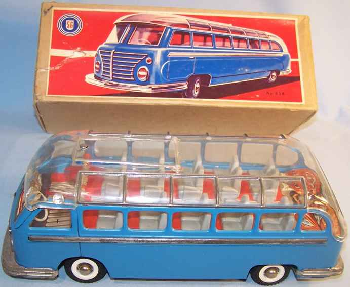guenthermann 858 tin toy bus setra bus with clockwork blue