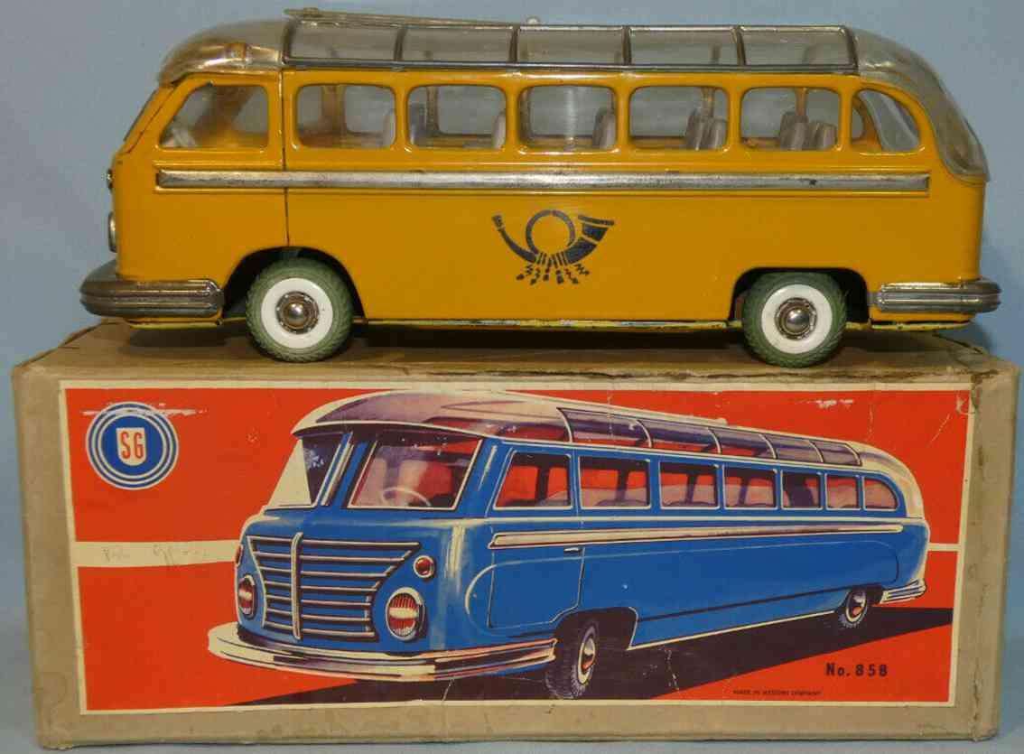 guenthermann 858 blech spielzeug autobus postbus mit schungradantrieb gelb