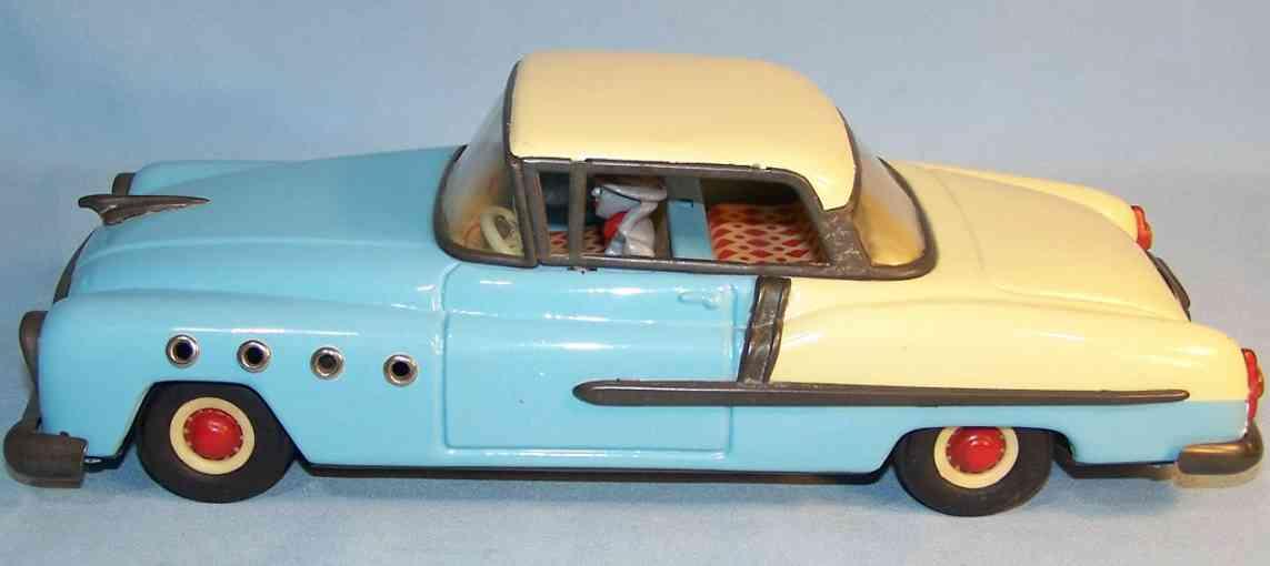 guenthermann blech spielzeug auto buick mit friktionsantrieb, hellblau und beige handlackiert,
