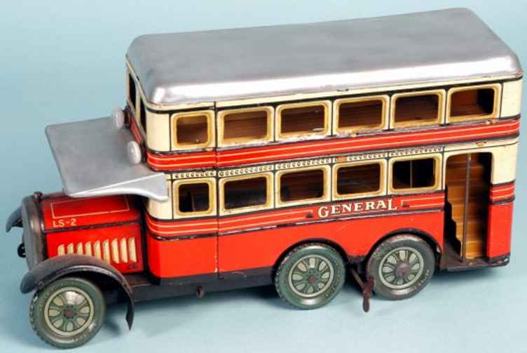 gunthermann tin toy general bus double decker
