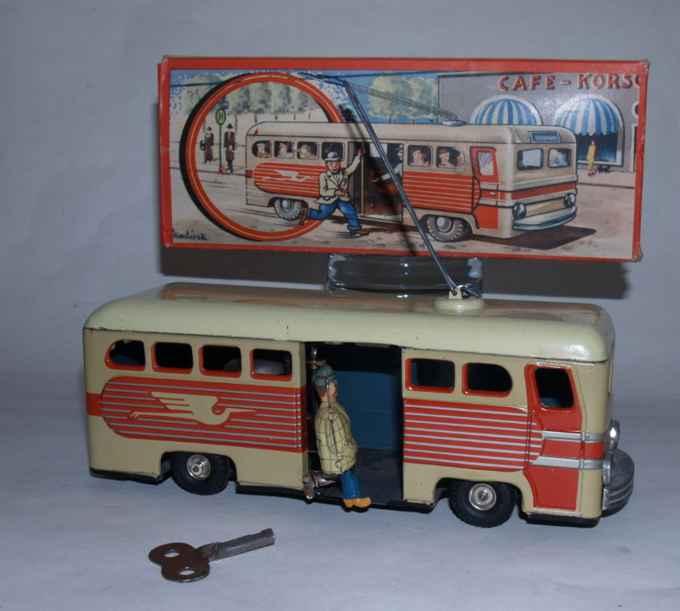 guenthermann Stadtbus 22 blech spielzeug autobus stadtbus mit läutemechanismus nachlaufendem passagier und uh
