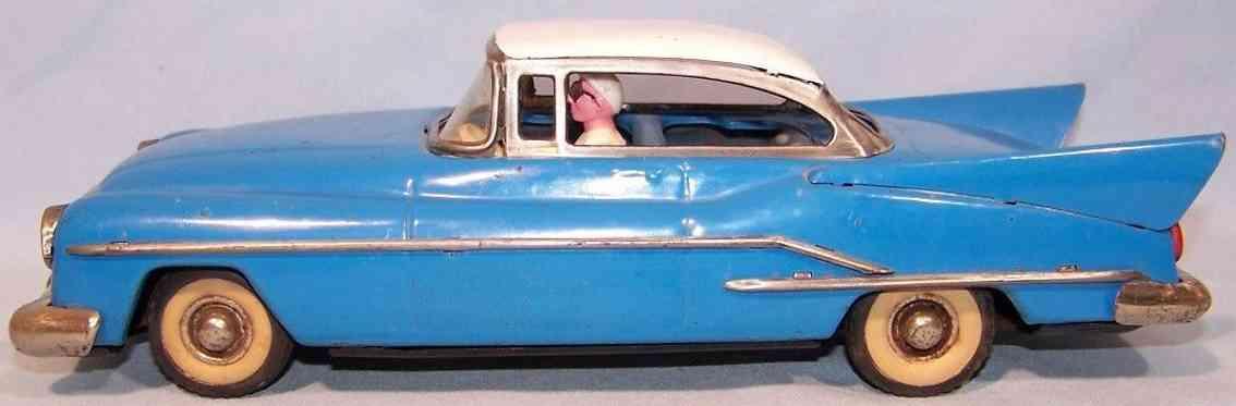 guenthermann blech spielzeug auto cadillac hohe flossen schwungrad blau weiss