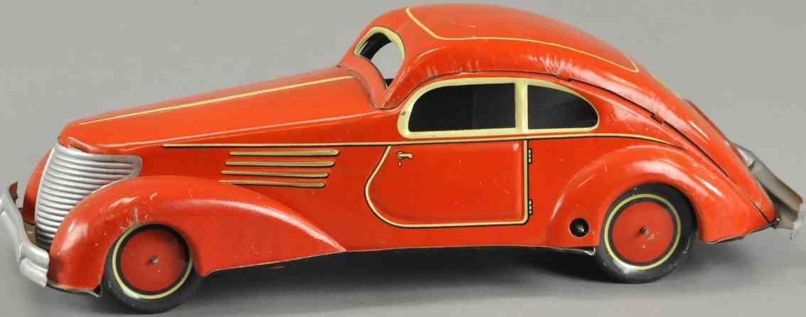 guenthermann Coupe 26,5 rot blech spielzeug auto coupe mit uhrwerk, aus lithografiertem blech in hellrot oran