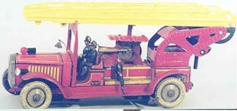 gunthermann blech spielzeug feuerwehrleiterwagen mit uhrwerk