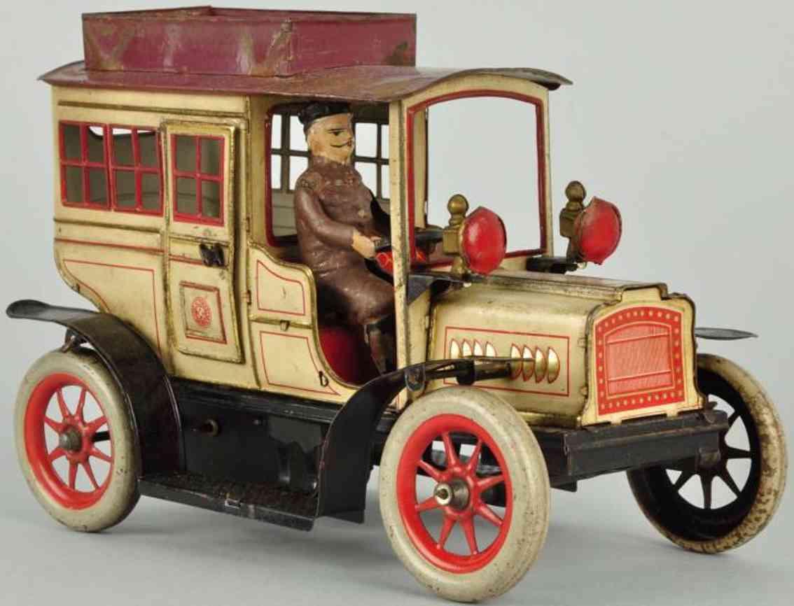 guenthermann tin toy car limousine clockwork 12 windows