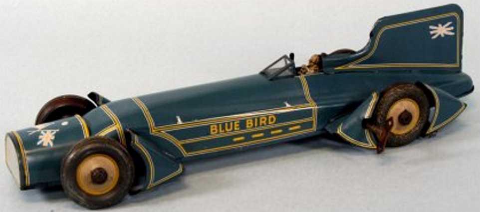 gunthermann tin toy race car blue bird