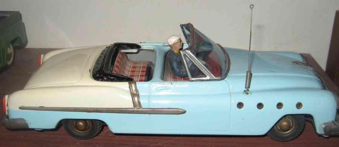 guenthermann blech spielzeug auto buick cabriolet mit friktionsantrieb und fahrer  in hellblau