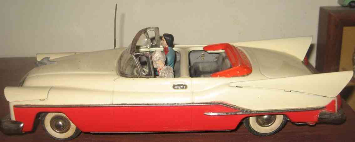 guenthermann toy chrysler convertible tin friction car red beige