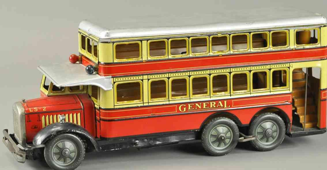 guenthermann blech spielzeug autobus general doppeldeckerbus rot gelb