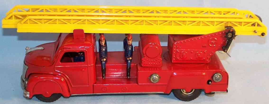 gunthermann tin toy fire ladder truck with crew and clockwork