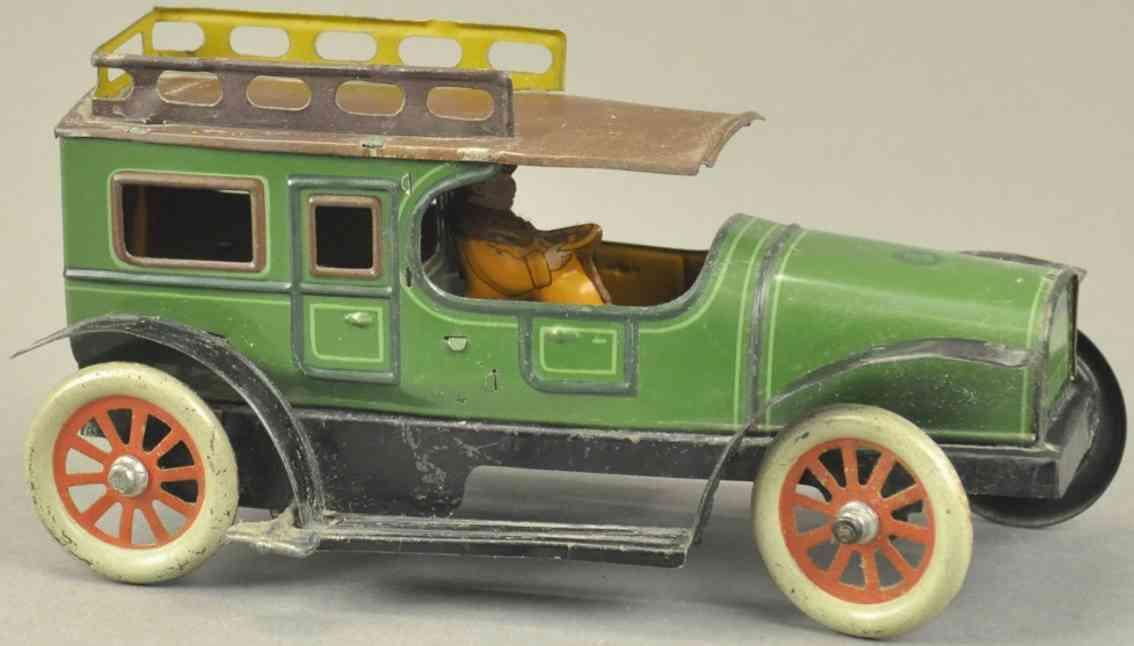 guenthermann blech spielzeug auto limousine gruen braun fahrer uhrwerk