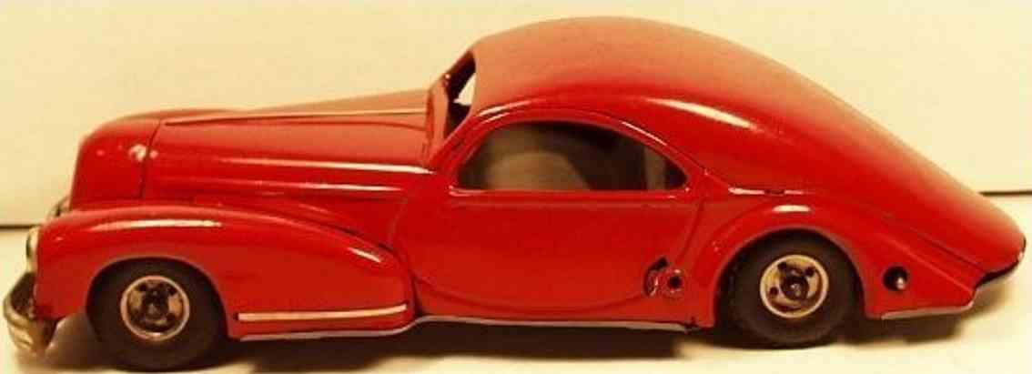 guenthermann blech spielzeug auto stromlinienförmiger sedn mit uhrwerk in rot