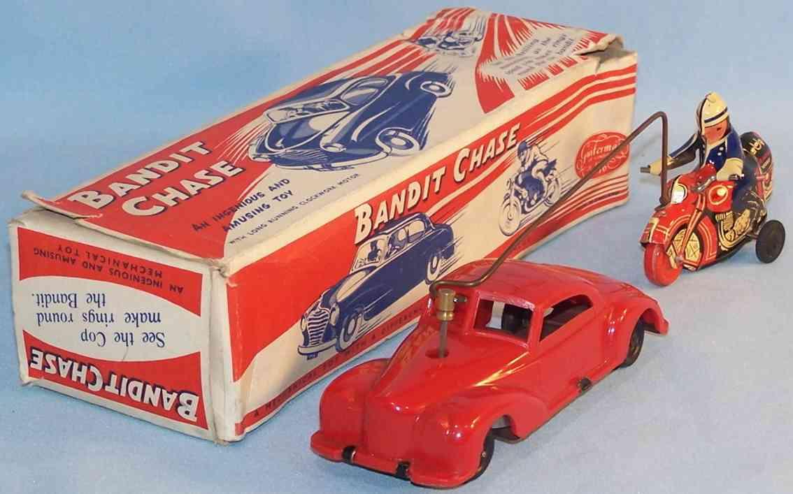 guiterman s. & c0 blech spielzeug auto bandit chase verfolgungsjagd, lithografiert in rot, blau und