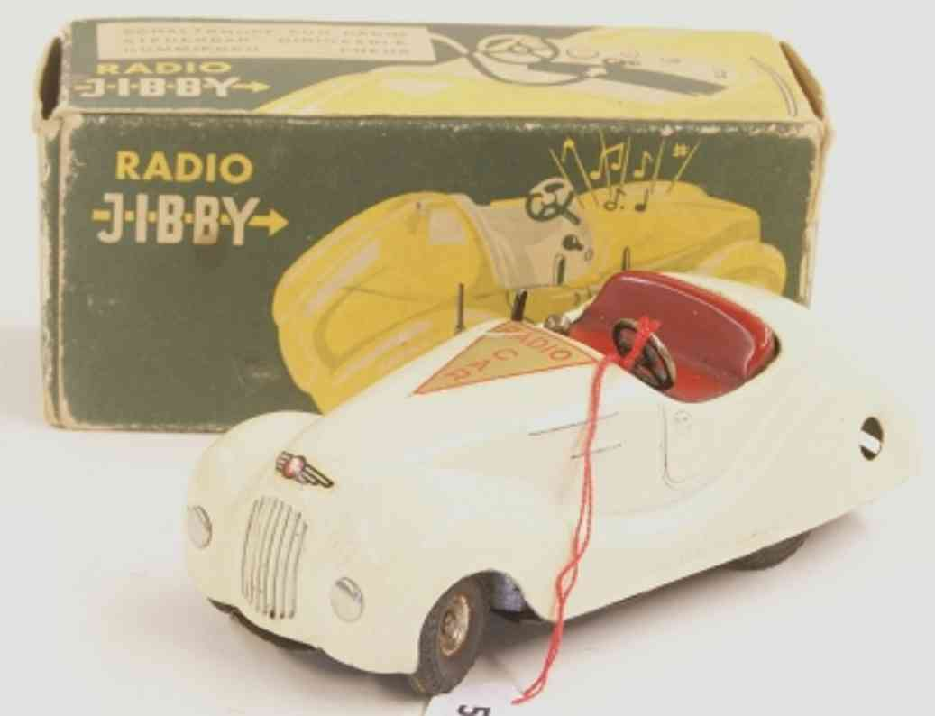 gysin & heinimann tin toy car radio jibby, car with clockwork in ivory-colored and red, mu