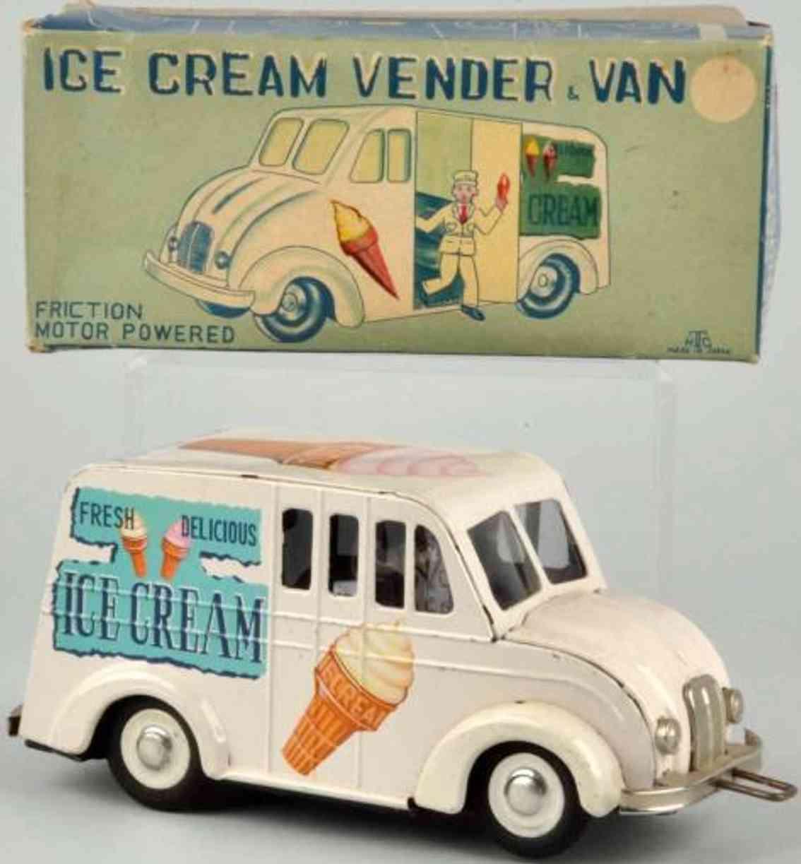 htc tin toy truck ice cream vender van with ice cram figure
