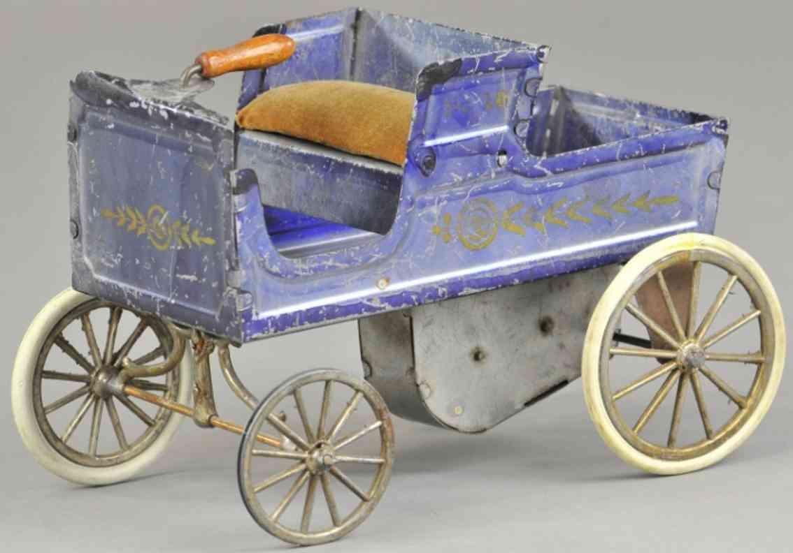 hafner blech holz spielzeug auto sportwagen uhrwerk blau