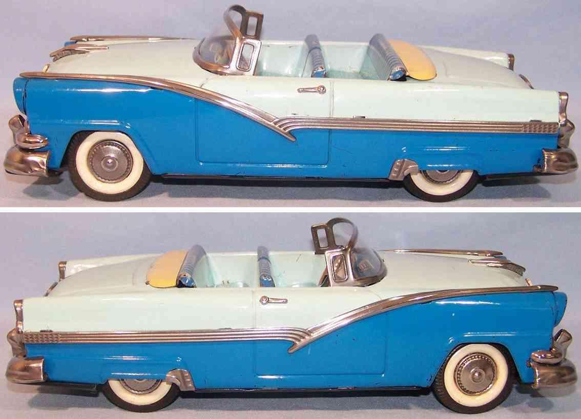 haji mansei toys co ltd a-84-8374 tin toy car ford fairlan blue flywheel