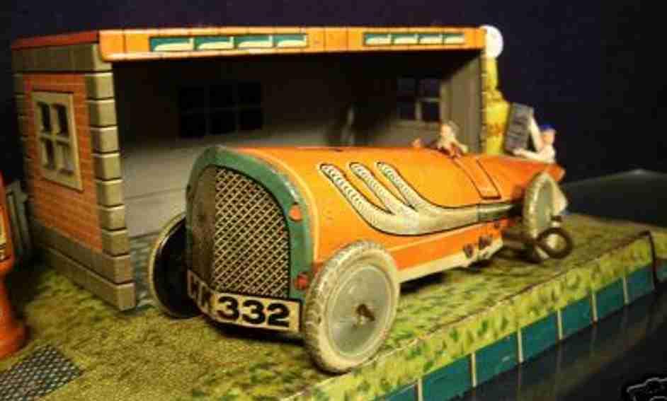 hammerer & kuhlwein tin toy race car racing car stromlinie hk-332 clockwork